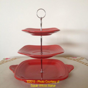 Fiesta® Three Tier Tidbit Tray in Scarlet