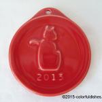 2013 Embossed Cat Scarlet Fiesta® Ornament