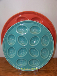 "Fiesta® 15"" Egg Tray in Persimmon 12"" Egg Tray in Turquoise"