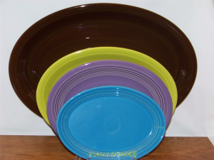 Back to Front - Fiesta® Ex-Large in Chocolate, Large in Lemongrass, Medium in Lilac, Small in Peacock