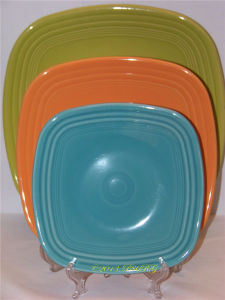 Fiesta® Square Plate - Back - Dinner - Lemongrass - Middle - Luncheon - Tangerine - Front - Salad - Turquoise
