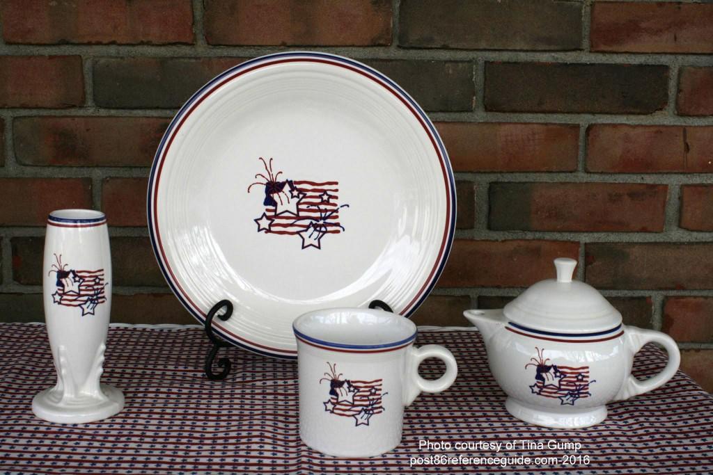 Fiesta® Stars Stripes Dinner Plate, Bud Vase, Mug, 2 Cup Teapot