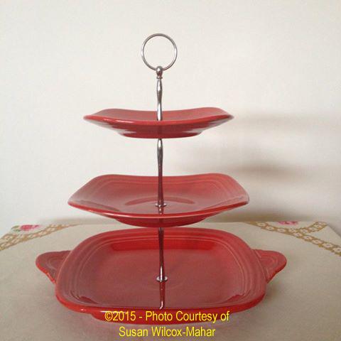 Fiesta® Three Tier Tidbit Tray in Scarlet & Fiesta® Serving Pieces