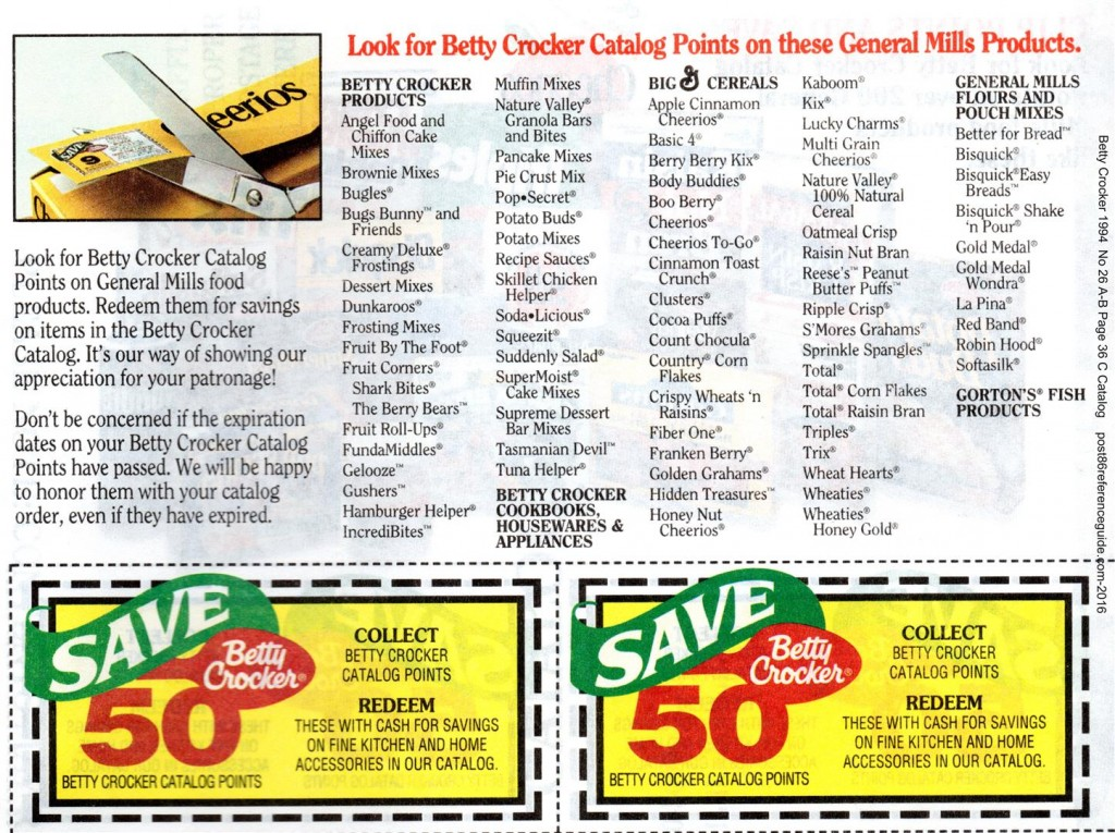 Betty Crocker 1994 - Points Coupons rg (Large)