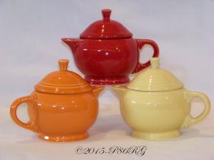 Fiesta® 2 Cup Teapots in Tangerine, Scarlet & Yellow