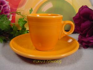 Fiesta® AD Demitasse Cup & Saucer Set Round Handle in Tangerine