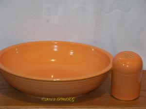 Fiesta® Pasta bowl with cheese shaker in Tangerine