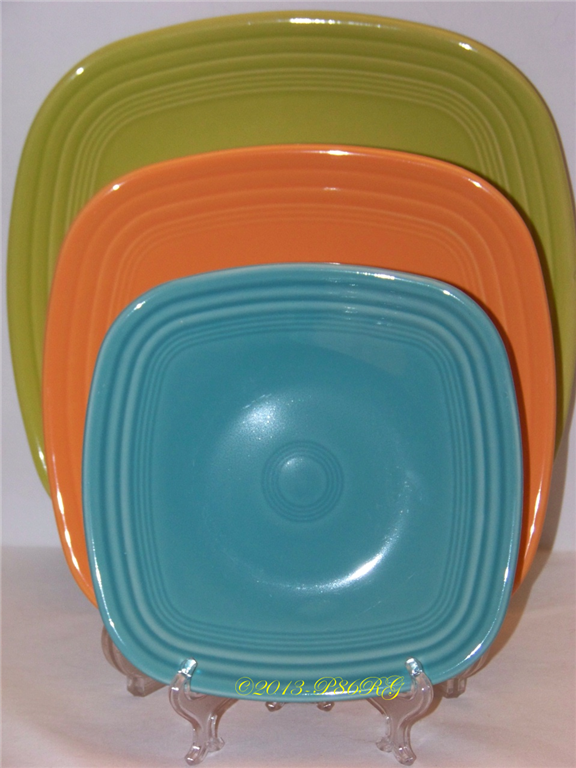 Fiesta® Square Plate - Back - Dinner - Lemongrass - Middle - Luncheon - Tangerine & Fiesta® Square Plate - Back - Dinner - Lemongrass - Middle ...